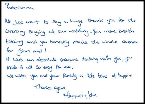 Margaret and John Wedding testimonial